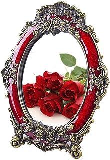 LLRYN Decorative Vintage Retro Metal Tabletop Mirror Rose Embossed Makeup Vanity Mirror with Stand Red