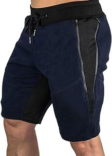 Remanlly Men's Shorts Elastic Waistband Patchwork Double Zipper Sports Shorts Leisure Trousers