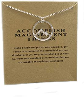 Friendship Snowy Mountain Peak Necklace Magnificent Things Good Luck Pendant with Message Card Calling Hiking Gifts