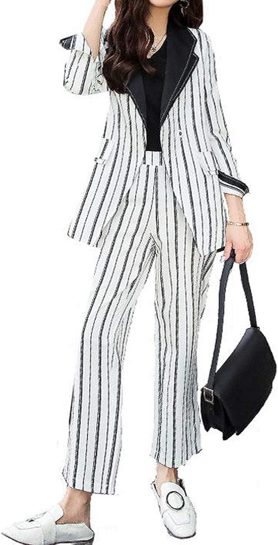 2019 Women Stripe Business Suit Autumn V Neck Blazer Jacket + Slim Long Trouser Two Piece Sets Female Office Uniform