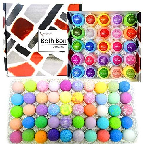 Bulk Bath Bombs Gift Set - 50 Natural Individually Wrapped Bath Bomb Kit - JA Organic Moisturizing Bath Balls for Women Men & Kids. Best Bath Bombs Party Favors for Adults & Teens. Sulfate Free