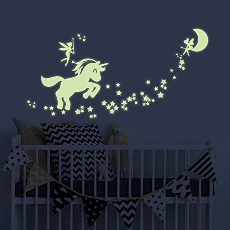Pegatinas De Pared De Unicornio Que Brillan En La Oscuridad Diseño De Hadas Que Brillan En La Oscuridad Para Dormitorio De Niñas Baby