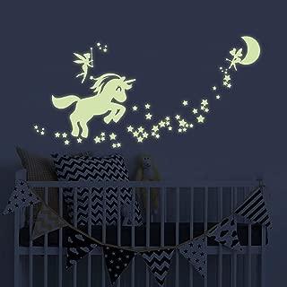 Unicorn Glow in The Dark Wall Stickers, Fairytale Fairy Glow in The Dark Stars Wall Decals for Girls Bedroom