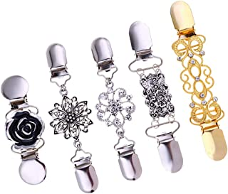 Prettyia Retro Shawl Clips with Chain - Pack of 5 - Cardigan Shrug Sweater Clips Clasp, Rhinestones Collar Pins Brooches -...