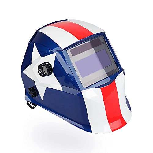 LEANINGTECH PATRIOT ATX01 Solar Power Auto Darkening Adjustable Headband,Welding Helmet, Large View Area