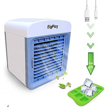 EigPluy Espacio Personal Enfriador de Aire Mini Aire Acondicionado Portátil USB Ventilador Escritorio 4 en 1 Aire Enfriador Evaporativo con Humidificador y ...