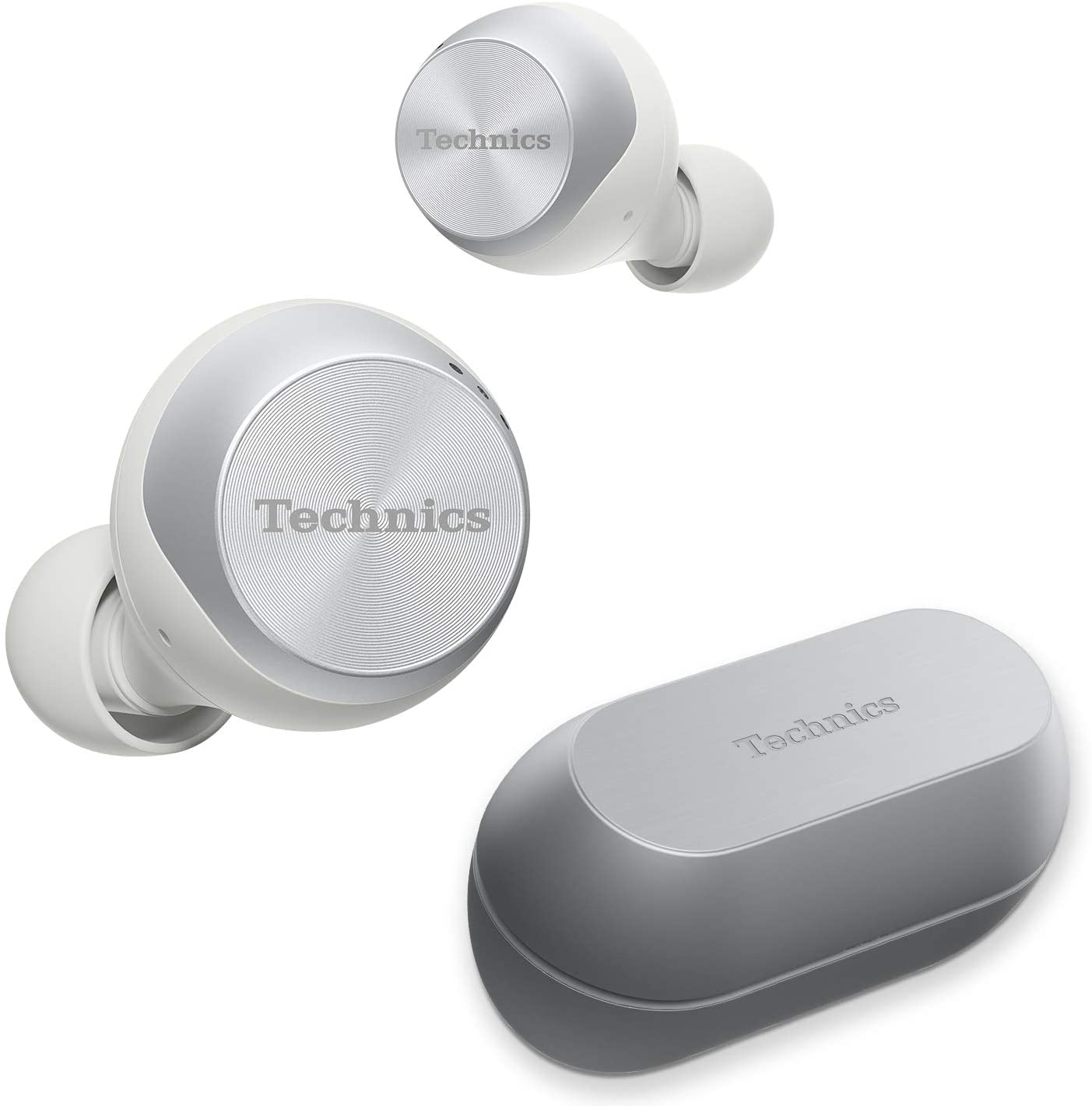 Technics True Wireless Earbuds with Industry Leading Noise Cancelling | Bluetooth Earbuds | Dual Hybrid Technology, Hi-Fi Sound, Compact Design | Alexa Compatible |(EAH-AZ70W-S), Silver