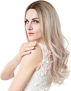 Wignee Long Ombre Brown Ash Blonde High Density Temperature Synthetic Rose Net Wig For Black/White Women Glueless Wavy Cos...