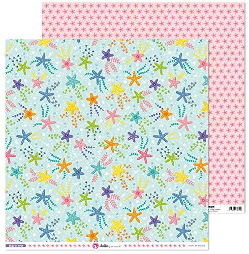 Anita y Su Mundo Colección Bajo el Mar Papeles de Scrapbooking, Paper, Estrellas, 30.5 x 30.5 cm