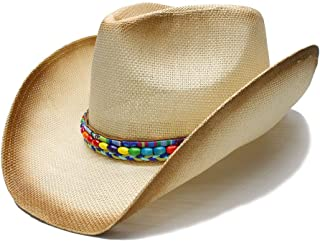 XinLin Du Women Straw Western Cowboy Hat With Colored bead chain Handmade Weave Lady Dad Sombrero Hombre Cowgirl Jazz