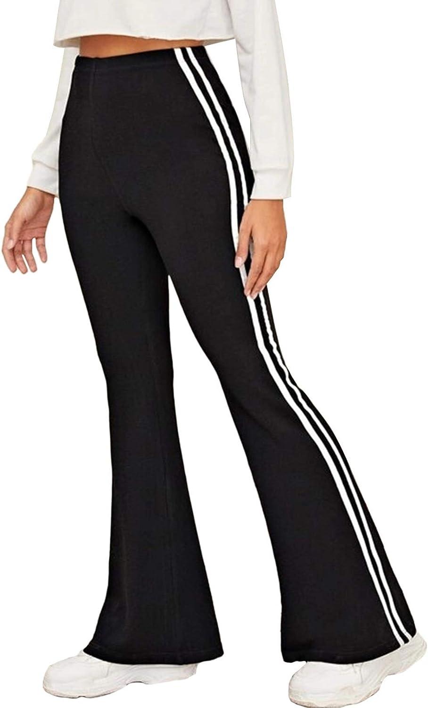 Linsery Women's Casual Stretch Soft Jogger Pants High Waist Bell Bottoms Strips Straight Legs Sportswear Sweatpants