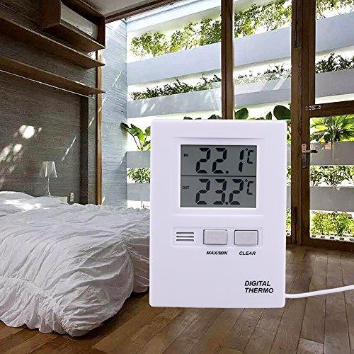Digitales Thermometer für den Innen- und Außenbereich, LCD Digitales Thermometer für den Innen- und Außenbereich Temperaturmessgerät Batteriebetriebenes, hochpräzises Messgerät