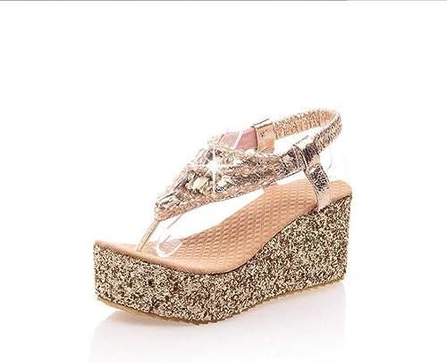 femmeschaussures Sandales Femmes, éponge gateau Romain Romain Chaussures Sandales compensées Orteil Paillettes Chaussures Femmes,or,41  pas cher en ligne