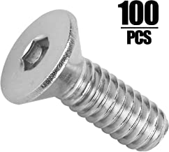 KINJOEK 100 Pack 1/4-20 x 3/4 Inch Flat Head Socket Cap Screws, Allen Socket Drive, 304 Stainless Steel 18-8, Full Thread, Bright Finish, Heavy Duty Hexagon Countersunk Machine Screw Drive