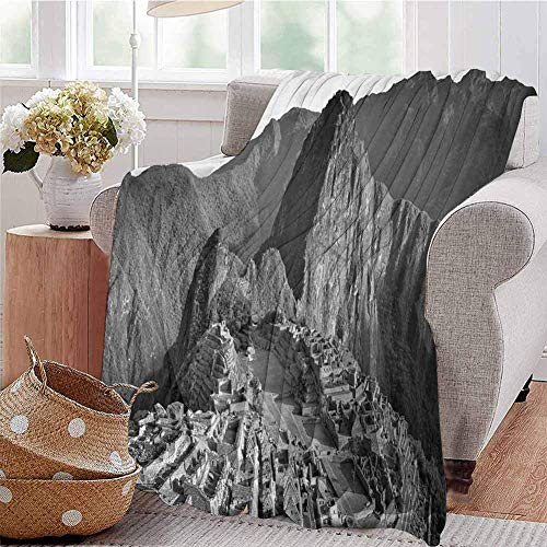 Elma Banju Black and White Chunky Knit Blanket Aerial View of Peru Village Architectural Landmark Buildings Day Time Wrinkle Resistant Blankets Black and White 48x60IN
