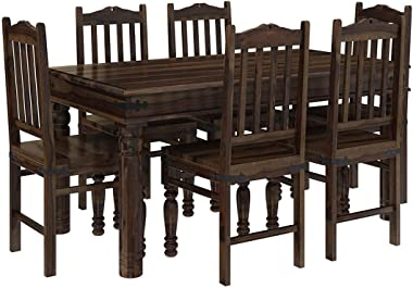 Woodstage Sheesham Wood Dining Table with 6 Chairs for Living Room Home Office Dining Room Wooden Dining Room Set Funiture Di