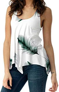 iTLOTL Women Plus Size Print Sleeveless Bandage Tank Vest Blouse Pullover Tops Shirt