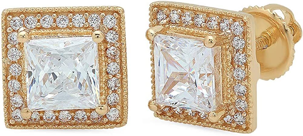 Clara Pucci 2.30 ct Brilliant Princess Round Cut Halo Solitaire Genuine VVS1 Fine White Lab Created Sapphire Gemstone Pair of Solitaire Stud Screw Back Earrings Solid 18K Yellow Gold