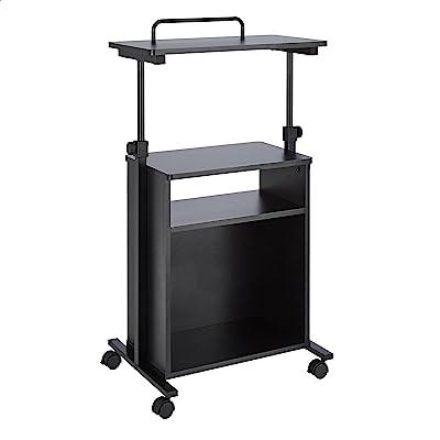 Amazon Basics Adjustable Standing Mobile Laptop Cart with Storage Shelves, Black