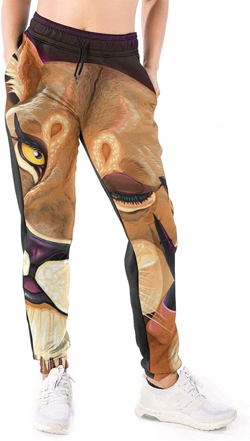 LONEA Women Joggers Pants Lady Leopard Draws Eyeline Athletic Sweatpants with Pockets Casual Trousers Baggy