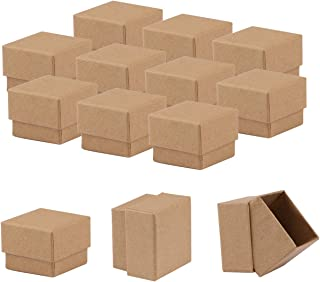 Sdootjewelry Kraft Earring Ring Boxes, 50 Pack Square Cardboard Jewelry Gift Boxes Small Earring Ring Gift Box with Foam Insert - 1.97 x 1.97 x 1.57 Inches - Brown