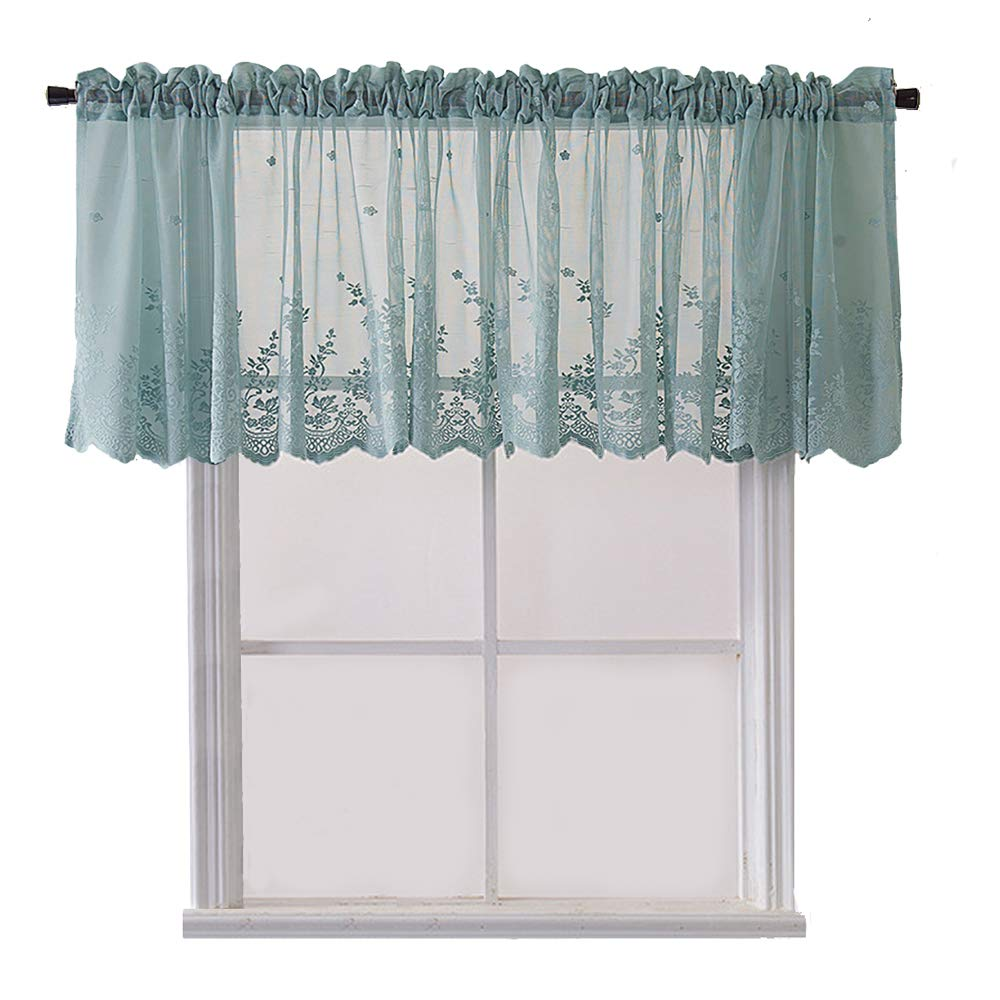 Vintage Window Lace Curtain Kitchen Cafe floral Curtain Valance and  Panels