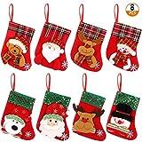 Fulushou Mini Medias de Navidad 8 Piezas Calcetines del Árbol de Navidad Calcetines Colgantes para Decoración Calcetín Navideño de Lentejuelas de Muñeca de Nieve, Santa Claus, Oso y Reno