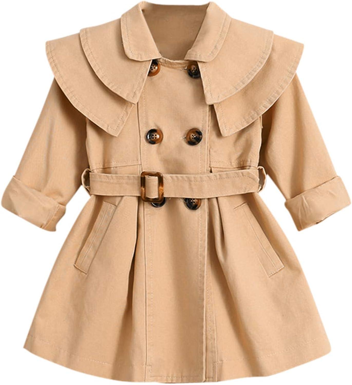 Kids Girl Windbreaker Coat Winter Outdoor Windproof Long Jacket Lapel Double-breasted Long Sleeve Tops Pink Rosa Khaki Solid