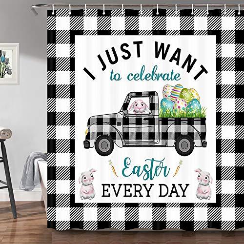 JAWO Buffalo karierter Oster-Duschvorhang Bauernhofwagen mit Eiern, niedlicher Hase, Dekostoff, 174 x 178 cm