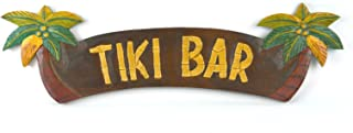 HAND CARVED TIKI BAR SIGN WITH TWO PALM TREES 3D