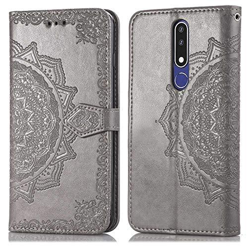 Bear Village Hülle für Nokia 3.1 Plus, PU Lederhülle Handyhülle für Nokia 3.1 Plus, Brieftasche Kratzfestes Magnet Handytasche mit Kartenfach, Grau