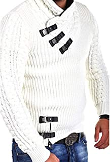 2019 Winter Sweater for Men Fashion High Collar Winter Long Sleeve Slim Big and Tall 2XL Pullover Knitted Jumper Tops