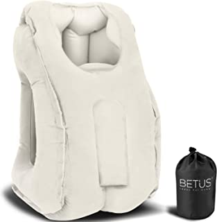 Betus Inflatable Travel Pillow for Airplane - Ergonomic Design & Comfortable Neck Head Rest Pillow for Long Sleeping on Ai...