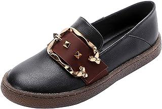 [GoldFlame-JP] ペタンコ靴 ローファー レディース スリッポン フラットシューズ ベルト付き ラウンドトウ 履きやすい 防水 美脚 コンフォート 柔らかい 痛くない 22.0cm~25.5cm