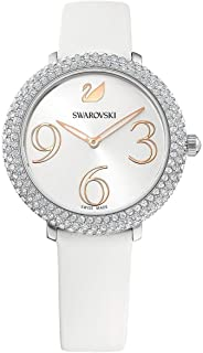 Ladies' Swarovski Crystal Frost White Leather Strap Watch 5484070