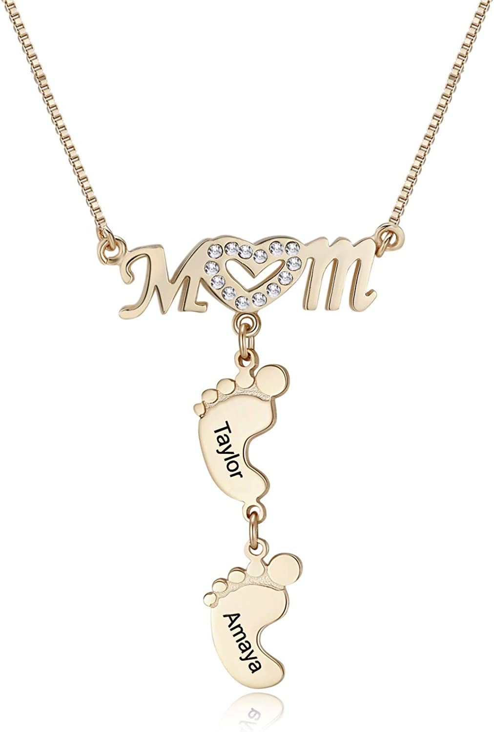 RESVIVI Personalized Mom Heart Symbol Necklace with Child Name Feet Charms