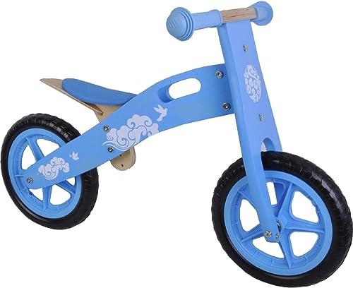 selección larga Bicicleta del Niño sin Pedales de Madera Madera Madera 12 pulgadas azul blanco  a la venta