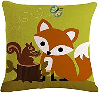 Bnitoam Cartoon Animal Fox Bike Owl Squirrel Throw Pillow Case Cushion Cover Decorative Cotton Blend Linen Pillowcase for ...