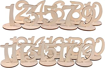 eZAKKA Wooden Table Number 1-20 Wood Wedding Table Numbers with Holder Base for Wedding Party Home Decoration Vintage Birthday Event Banquet Anniversary Decor Catering Reception