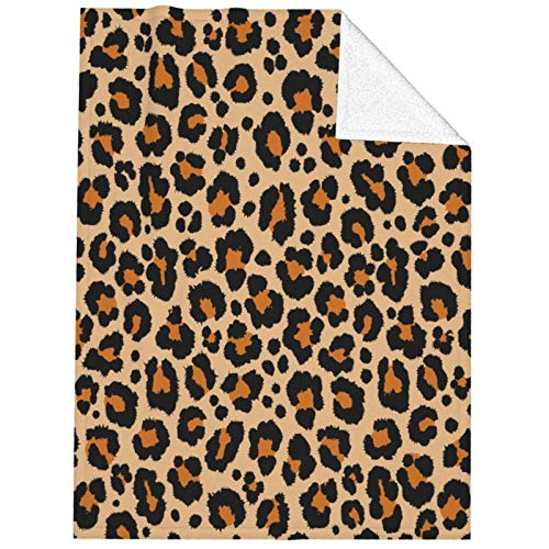 Foruidea Bed Blanket Animal Leopard Print Brown Throw Blanket Sherpa Blanket 40x50 inch Cozy Soft Warm Fleece Blanket Couch Sofa Blanket for Kids Boys Girls