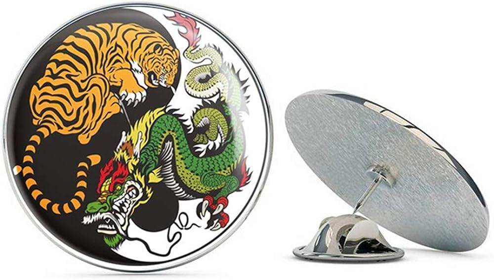Yin Yang Tiger Dragon Round Metal 0.75