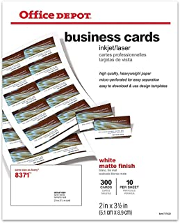 Office Depot(R) Laser/Inkjet Matte Business Cards, 2in. x 3 1/2in., White, Box Of 300