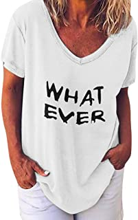 "DIDWZW Tops for Women, Ladies Short Sleeve V-neck Letter Printed""WHAT EVER"" Loose Blouse T-shirt, S~XXXXXL"