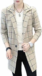 [FUPUSUN] メンズ 春 秋 冬 コート ロング 長袖 カジュアル 無地 薄手 ラシャコート Mサイズ