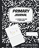 Primary Journal: Black Marble,Composition Book, draw and write journal, Unruled Top, .5 Inch Ruled Bottom Half, 100 Sheets, 7.5 in x 9.25 in, 19.05 x 23.495 cm,Soft Durable Cover