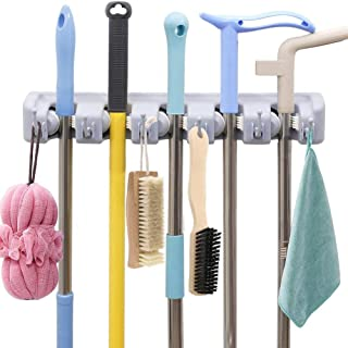 AMERTEER Mop and Broom Holder Wall Mount Heavy Duty Broom Holder Wall Mounted Broom Organizer Home Garden Garage Storage R...
