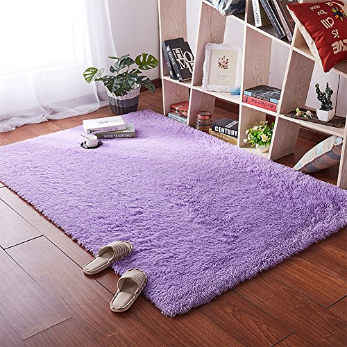 SANMU Soft Velvet Silk Rugs,Simple Style Modern Shaggy Carpet Fashion Color Bedroom Mat for Girls Home Decor 4 x 5.3 Feet Purple