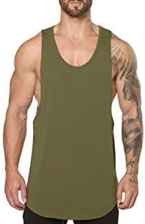 ZUEVI Men's Muscular Cut Open Sides Tank Tops Bodybuilding T-Shirts