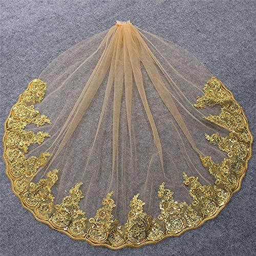 xinlianxin Velo corto de boda dorado con encaje parcial, lentejuelas brillantes, color dorado, velo de novia con peine accesorios de boda (color dorado)