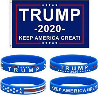 Uddiee Donald Trump Flag 2020 President with 2pcs Silicone Bracelets Wristbands